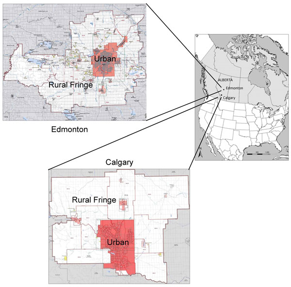 Calgary and Edmonton, Alberta, Canada, census metropolitan areas in which 91 coyote carcasses were collected during 2009–2011 and tested for Echinococcus multilocularis. Reference maps (2006) were obtained from the Geography Division, Statistics Canada (www12.statcan.gc.ca/census-recensement/2006/geo/index-eng.cfm). Urban core areas and surrounding rural fringes are indicated. For Edmonton, 5 (62.5%) of 8 carcasses were positive. For Calgary, 18 (20.5%) of 83 carcasses were positive: 9 (27.3%) o