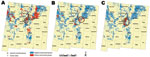 Thumbnail of Areas of New Mexico, USA, considered in the current analysis on the basis of those defined as high risk for human plague by Eisen et al. (6) for each time frame examined. A) 1976–1985, B) 1986–1995, C) 1996–2007. Distributions of human cases are displayed and census block groups are color coded as negative or positive for plague cases. Census block group boundaries are indicated in light gray, and counties are outlined in dark gray. Ovals or circle indicate census block groups with