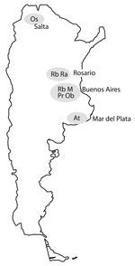 Thumbnail of Locations of 7 major multidrug-resistant tuberculosis clusters, labeled by strain type, Argentina, 2003–2009.