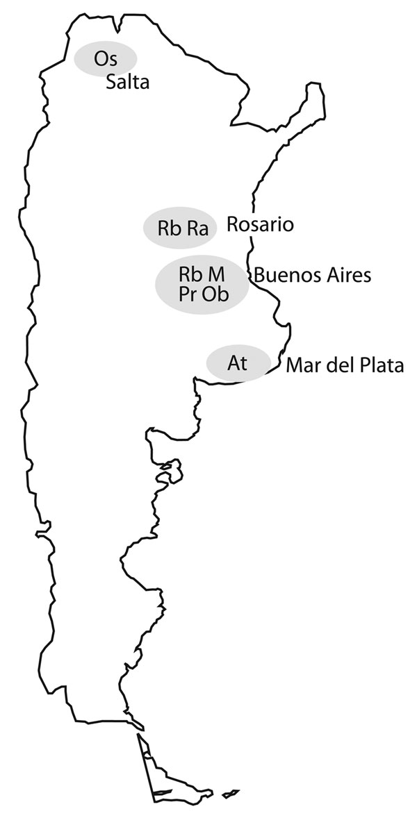 Locations of 7 major multidrug-resistant tuberculosis clusters, labeled by strain type, Argentina, 2003–2009.