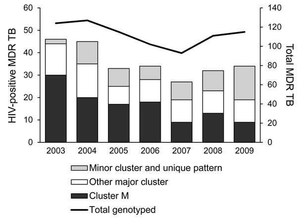 Numbers of HIV-positive patients with multidrug-resistant tuberculosis (MDR TB), classified by genotype cluster, and total number of newly diagnosed MDR TB patients per year with identified genotype, Argentina, 2003–2009.