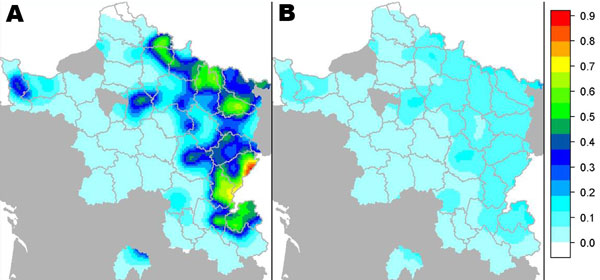 Model-predicted prevalence (A) and standard error (B) of Echinococcus multilocularis in foxes, France, 2005–2010. 1 = 100%.