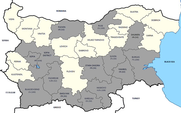 Prevalence rates for Crimean-Congo hemorrhagic fever virus in various districts of Bulgaria. F.Y.R.M., Former Yugoslav Republic of Macedonia.
