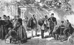 Thumbnail of The control of travelers from cholera-affected countries, who were arriving by land at the France–Italy border during the cholera epidemic of 1865–1866. (Photograph in the author's possession).