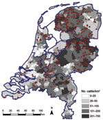 Thumbnail of Geographic distribution of dairy herds from which 1–4 animals were sampled (red dots) in study of Schmallenberg virus seroprevalence, the Netherlands, 2011–2012. Cattle density is indicated by gray shading; blue outlines denote regional borders.