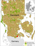 Thumbnail of Location of trap site with culicoids positive for Schmallenberg virus (red dot), Hokkerup, Denmark, 2011.
