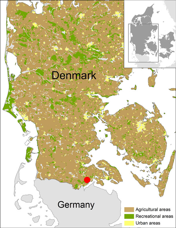 Location of trap site with culicoids positive for Schmallenberg virus (red dot), Hokkerup, Denmark, 2011.