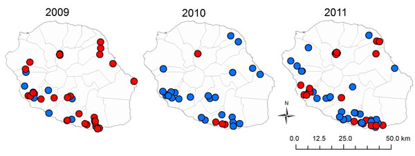 Location of farms tested for antibodies against influenza A(H1N1)pdm09 virus in serologic surveys, Réunion Island, 2009–2011. Blue dots, seronegative farms; red dots, seropositive farms.