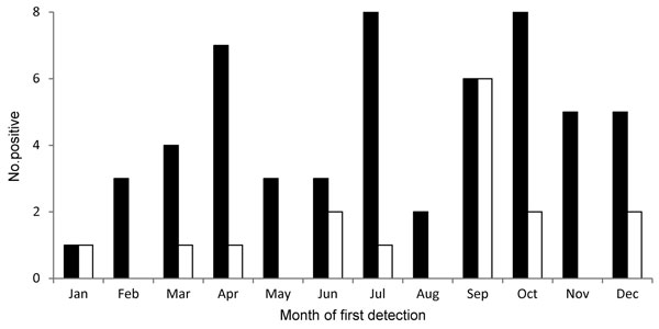 Number of samples positive for KI polyomavirus (black bars) and WU polyomavirus (white bars) by month of first detection in hematopoietic cell transplantation recipients.