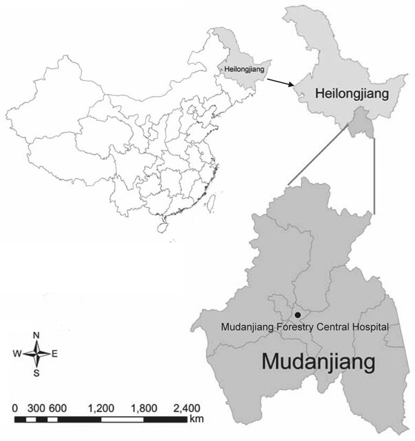 Location of Mudanjiang, Heilongjiang Province, China, where Candidatus Neoehrlichia mikurensis was detected.