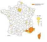 Thumbnail of Geographic distribution of dengue cases in the departments (administrative districts) of metropolitan France, 2007–2010, and departments where the vector was established in 2010. Circles in outlined departments represent dengue cases reported by 3 surveillance systems. AH, Alpes-de-Haute-Provence; AM, Alpes-Maritimes ; BR, Bouches-du-Rhône; CS, Corse-du-Sud; HC, Haute-Corse; VA, Var. (Map made with Philcarto, http://philcarto.free.fr/)