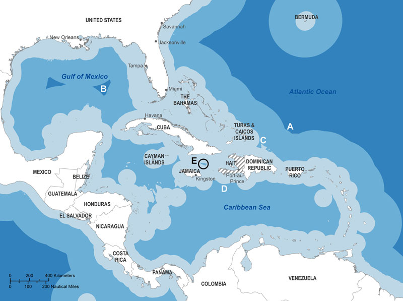 Zones in the Caribbean region where distance from shore and water depth meet International Maritime Organization guidelines for ballast exchange. To exchange ballast >200 nautical miles from shore in water 200 m deep, ships must travel 280 nautical miles northeast of Haiti (A) or to the Gulf of Mexico (B). To exchange ballast at the minimum 50 nautical miles from shore in water >200 m deep, ships must travel >90 nautical miles northeast (C) or 50 nautical miles south (D) of Haiti or con