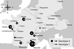 Thumbnail of Geographic distribution of the 2 most common genotypes of Tropheryma whipplei in central Europe. Numbers in circles indicate number of cases with corresponding genotype; circles without a number indicate single cases. Cities are either the residence of patients or of their physicians; the capital of the country of residence is shown for persons whose city of residence was unknown. This map was made by using Epi Info 7 (wwwn.cdc.gov/epiinfo/).