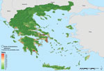 Thumbnail of Areas latently hospitable and environmentally permissive for persistent malaria transmission, Greece, 2009–2012. Map showing areas predicted to be environmentally suitable for malaria transmission. Values from 0 to 0.5 (dark to light green) indicate conditions not favorable for malaria transmission (based on locally acquired cases); yellow to dark red areas delineate conditions increasingly favorable for transmission (values from 0.5 to 1).