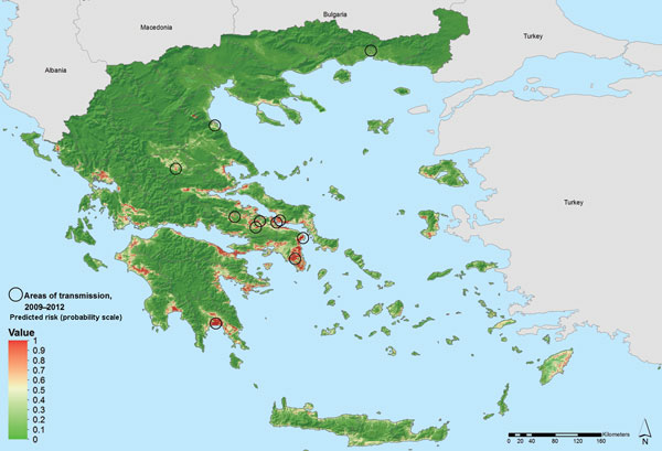 Areas latently hospitable and environmentally permissive for persistent malaria transmission, Greece, 2009–2012. Map showing areas predicted to be environmentally suitable for malaria transmission. Values from 0 to 0.5 (dark to light green) indicate conditions not favorable for malaria transmission (based on locally acquired cases); yellow to dark red areas delineate conditions increasingly favorable for transmission (values from 0.5 to 1).