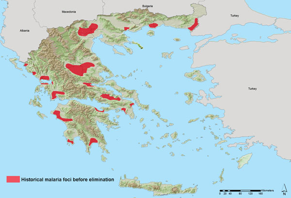 Areas of historic malaria transmission before elimination, Greece. Greece was officially declared malaria free in 1974, after a national malaria elimination effort during 1946–1960. Data sources: adapted from (10; Ministry of Health. Map of confirmed laboratory species–1952, unpub. data).