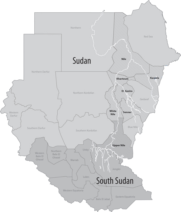 Sudan and South Sudan. States with confirmed Rift Valley fever cases are in boldface. Light gray indicates Sudan; dark gray indicates South Sudan. The Nile, White Nile, and Blue Nile Rivers are depicted in white, and other bodies of water were removed for clarity.