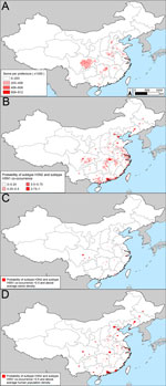 Thumbnail of Potential influenza reassortment areas in People's Republic of China determined by using the influenza virus subtype H5N1 outbreak dataset. A) Density of swine. B) Spatial model of the risk for subtype H3N2 and H5N1 co-occurrence according to the outbreak dataset. C) Areas with a probability of subtype H5N1 and H3N2 co-occurrence >50% and above average swine density. D) Areas with a probability of subtype H5N1 and H3N2 co-occurrence >50% and above average human population dens