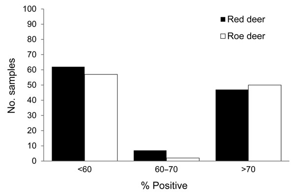 Frequency distribution of the results yielded by indirect ELISA for detecting IgG targeting recombinant nucleoprotein of emerging Schmallenberg virus in serum samples collected from 116 red deer and 109 roe deer in southeast Belgium during the fall of 2011. Results are expressed as percentages of the reference signal yielded by the positive control serum. Serologic status is defined as negative (<60%), doubtful (60%–70%), or positive (>70%).