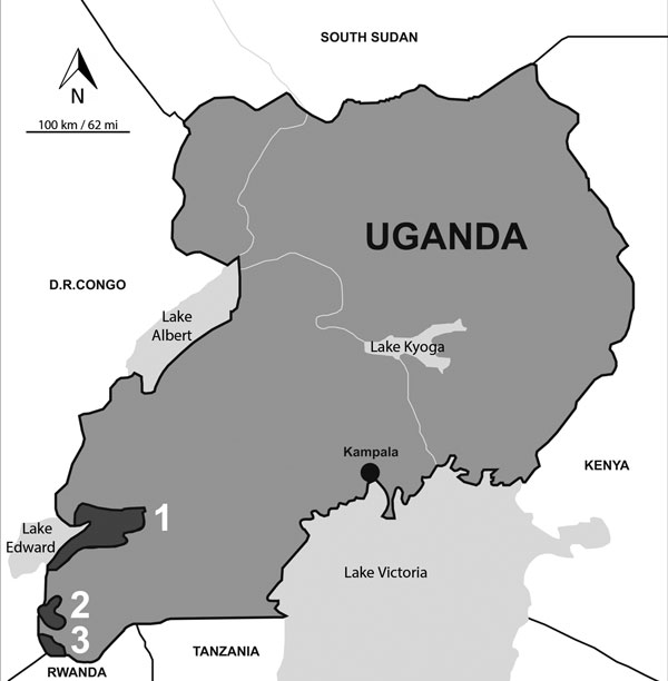 Map of Uganda showing 3 areas where a serosurvery for human and animal pathogens was conducted among dogs. 1, Queen Elizabeth National Park; 2, Bwindi Impenetrable National Park; 3, Mgahinga Gorilla National Park.