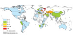 Thumbnail of Proportion of multidrug resistance among strains causing new tuberculosis cases from latest available world data, 1994–2010. <!-- INSERT SHAPE --> Dotted lines on maps represent approximate borders for which there may not yet be full agreement. (Copyright by the World Health Organization; 2011. All rights reserved.)