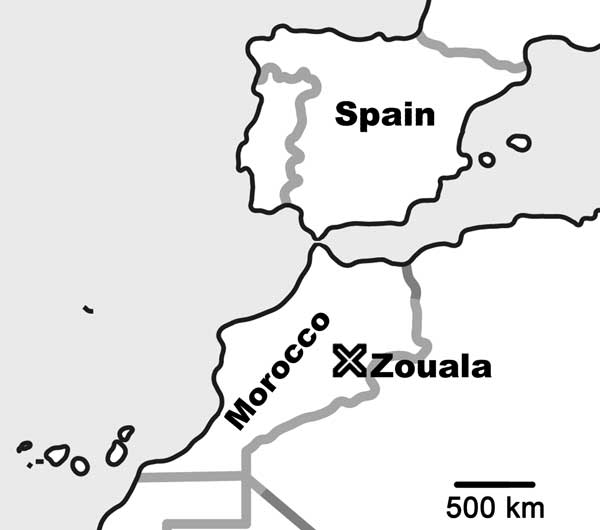 Location of Zouala, Morocco.