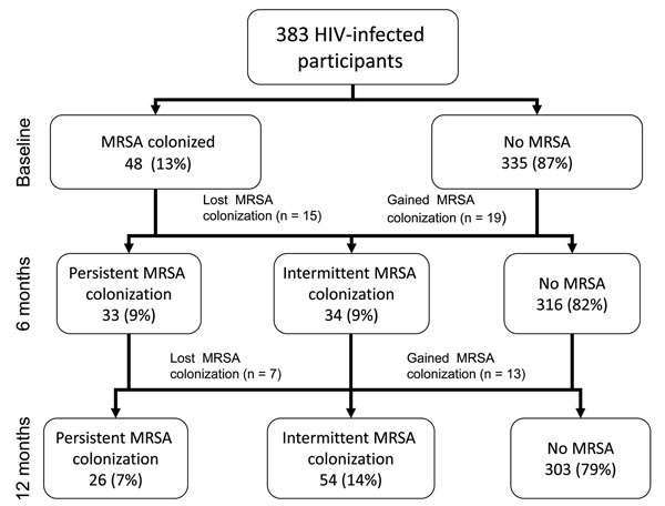 Prevalence of methicillin-resistant Staphylococcus aureus (MRSA) recovered from nares and groin swabs of HIV-infected adults at each study visit among participants who had specimens cultured at all 3 visits (n = 383). Atlanta, Georgia, USA, 2007–2009.