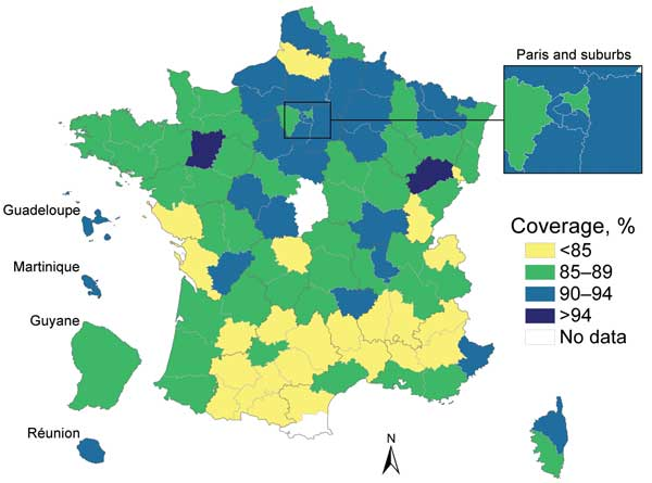 Coverage of initial measles-mumps-rubella vaccination (MMR1) listed in health certificates for children at 24 months of age, by district (département), France, 2003–2008. Data are latest available figures for the period. Sources: Institut de Veille Sanitaire, Ministry of Health statistical department.