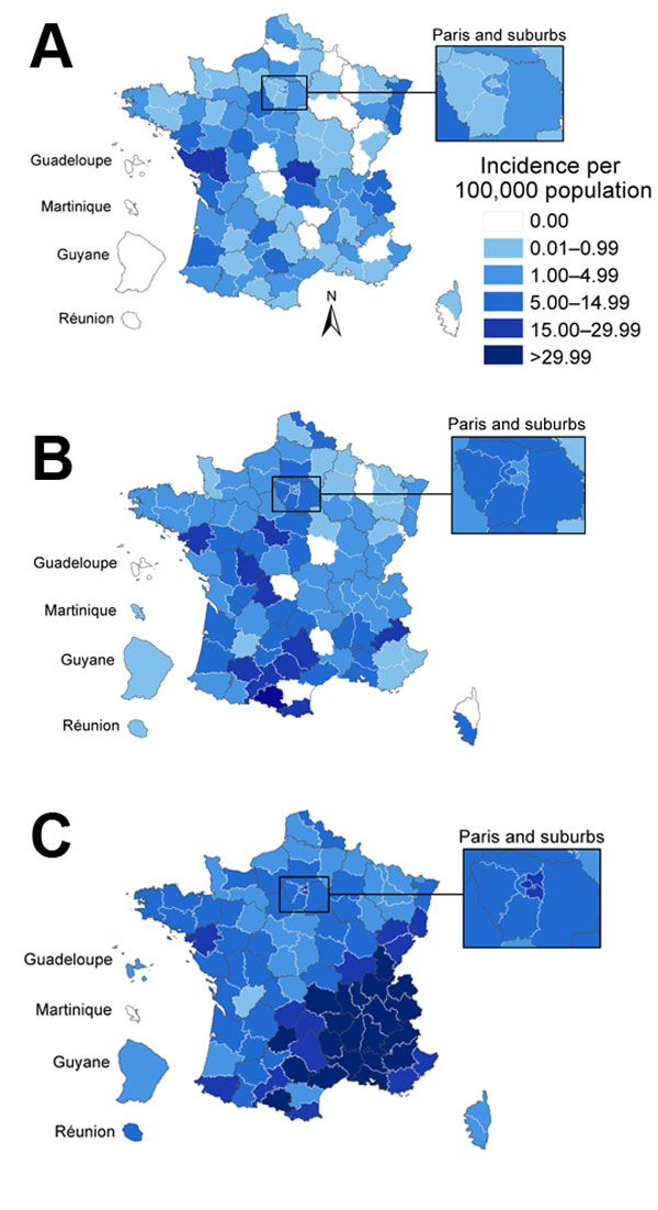 Evolution of geographic distribution of measles cases during 3 epidemic waves, France. A) October 2008–September 2009; B) October 2009–September 2010; C) October 2010–September 2011.