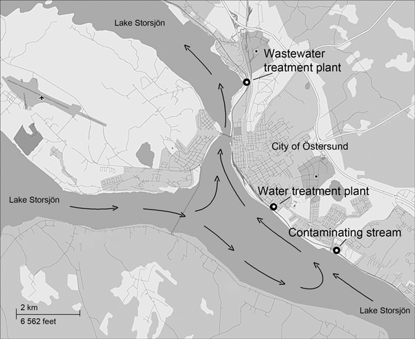 Map of Lake Storsjön, showing water currents (arrows) and locations of wastewater treatment plant, water treatment plant, and contaminating stream after Cryptosporidium infection outbreak, Östersund, Sweden, 2010–2011.
