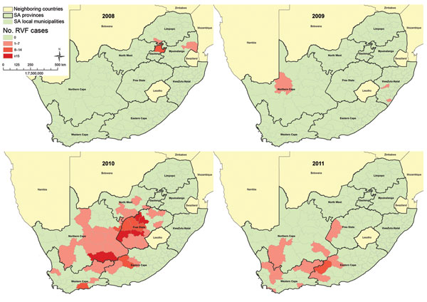 The spatial frequency distribution of human laboratory-confirmed Rift Valley fever cases by administrative local municipality by year, South Africa (SA), 2008–2011 (N = 302).