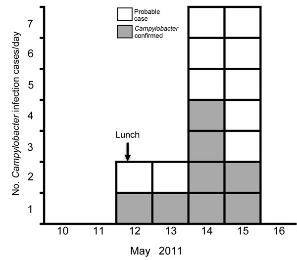 Onset dates of diarrheal illness related to a duck liver–associated outbreak of campylobacteriosis among humans, United Kingdom, 2011. Symptoms recorded with or without laboratory confirmation of Campylobacter infection, among persons eating lunch at a catering college restaurant on May 12, 2011. Vertical arrow indicates exposure date.
