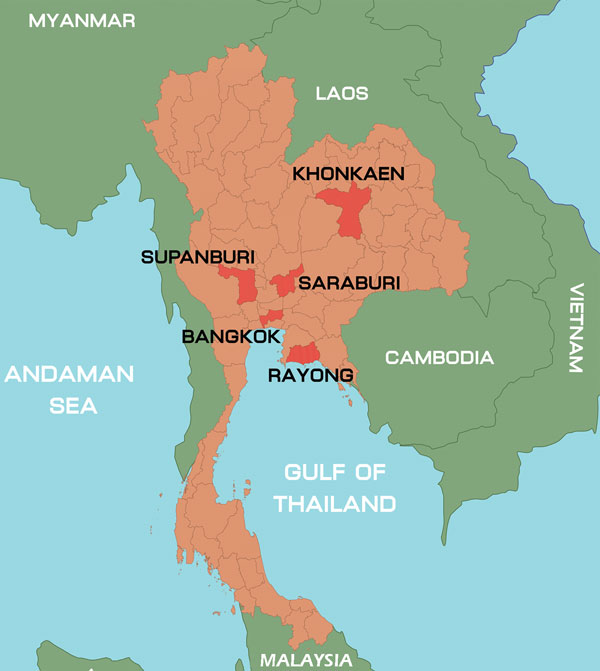 Location of sample collection sites during outbreak of hand, foot, and mouth disease, Thailand, January–October 2012.
