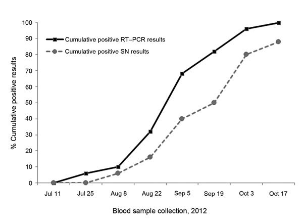 Time course of Schmallenberg virus spread among 50 infection-naive female lambs assessed bimonthly by real-time quantitative reverse transcription PCR (RT-qPCR) and seroneutralization (SN). Cumulative positive results (cycle threshold <40 and log2 50% effective dose >3.5) obtained during July–October 2012 are expressed as percentages.