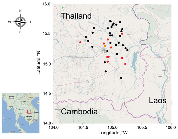 Ubon Ratchathani Province in northeastern Thailand and locations where water samples were tested for Burkholderia pseudomallei, 2012. Location of wells, boreholes, and tap water samples that were positive are indicated by orange, red, and black circles, respectively. The red square in the inset indicate the study area in Thailand.