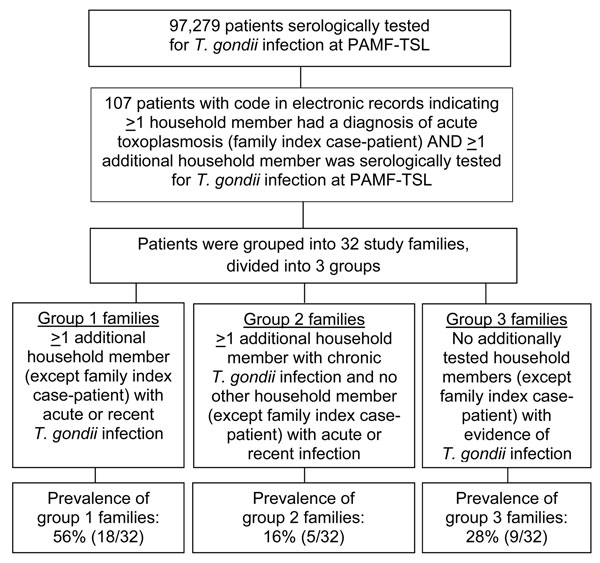 Flowchart for the identification of families with an index case-patient who had acute toxoplasmosis and >1 family member with acute or recent Toxoplasma spp. infection. Data were extracted from the database of the Palo Alto Medical Foundation Toxoplasma Serology Laboratory (PAMF-TSL; Palo Alto, CA, USA), from patient samples sent to PAMF-TSL during 1991–2010 from laboratories throughout the United States.