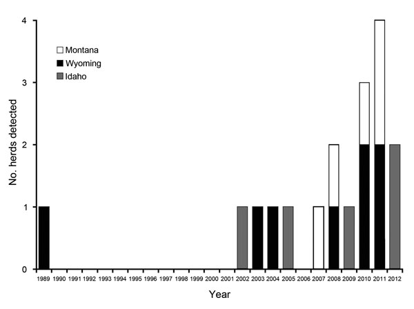 Number of Brucella abortus–positive domestic cattle and ranched bison herds (combined) detected each year, Greater Yellowstone Area, USA, 1989–2012.