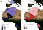 Thumbnail of Prevalence of Rickettsia felis infection (Panel A) and Plasmodium spp. infection (malaria) (Panel B) in febrile patients in Gabon, Senegal, Mali, Algeria, Morocco, Tunisia, and France, June 2010–April 2012.
