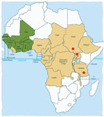 Thumbnail of Countries in the former Onchocerciasis Control Programme in western Africa in which onchocerciasis was eliminated as a public health problem through vector control (green); countries in the African Programme for Onchocerciasis Control in which onchocerciasis control is ongoing through annual mass treatment with ivermectin (beige); and areas in Southern Sudan, northern Uganda, and southern Tanzania in which nodding syndrome has been reported (red circles).