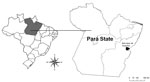 Thumbnail of Bom Jesus do Tocantins County (black) in Pará State (gray), Brazil, where an outbreak of bovine vaccinia occurred in 2010.
