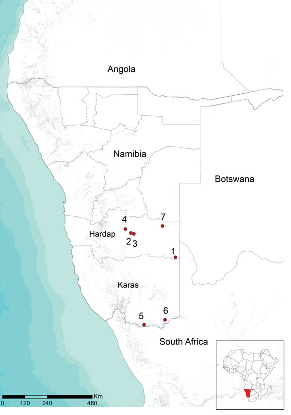 Location of farms in Namibia with Rift Valley fever virus infection, 2010. Red circles and numbers indicate outbreaks from which virus circulation was determined.