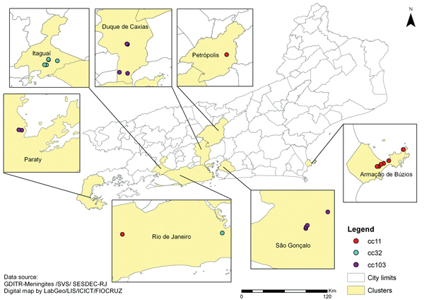 Spatial distribution of 8 meningococcal disease clusters caused by 3 different clonal complexes (cc) of Neisseria meningitidis, Rio de Janeiro State, Brazil, 2003–2012.