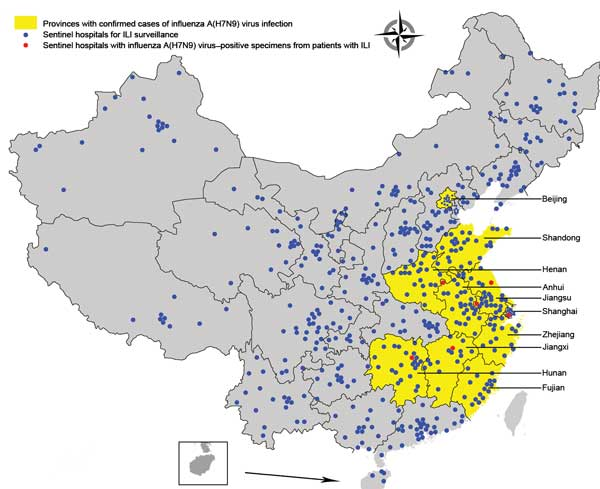 Geographic distribution of national influenza surveillance sentinel hospitals in Beijing and Shanghai Municipalities and 8 provinces with confirmed human cases of avian influenza A(H7N9) virus infection, China, 2013.