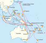 Thumbnail of Direct airline routes to Pacific region destinations from Papua New Guinea (Port Moresby), New Caledonia (Noumea), and Yap State, Federated States of Micronesia.