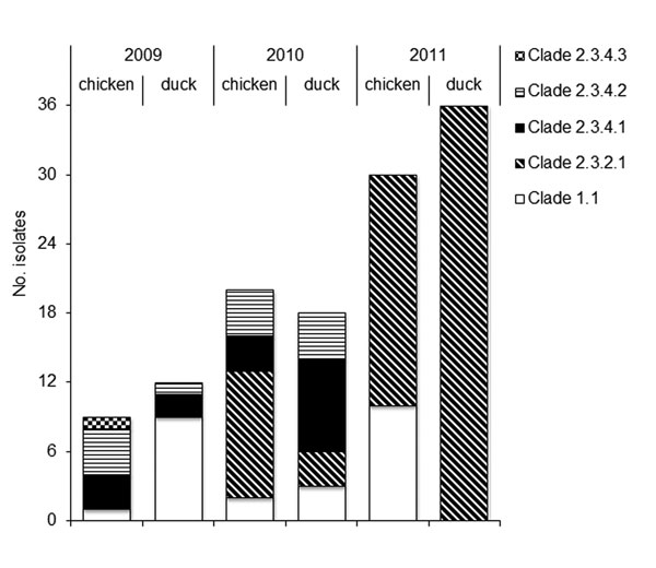 Description of 125 highly pathogenic avian influenza A(H5N1) viruses collected from poultry in Vietnam during 2009–2011 and tested during this study.