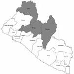Thumbnail of Counties in which cases of Buruli ulcer were found during 2012 (gray shading), Liberia.