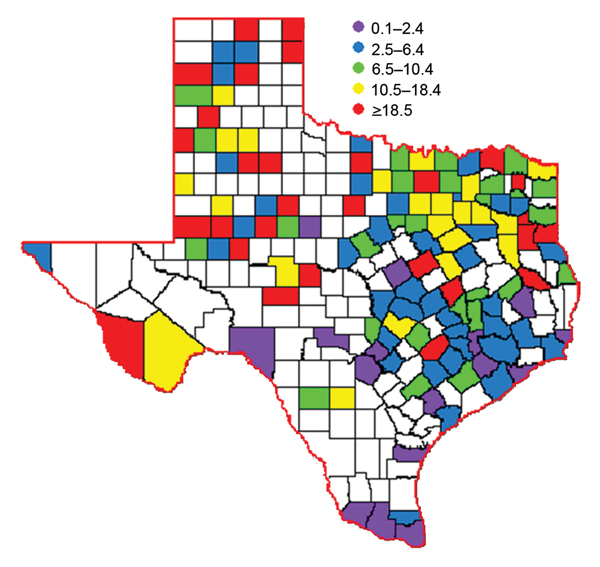 Incidence rates per 100,000 population during West Nile virus outbreak, Texas, USA, 2012. Numbers in parentheses indicate the number of counties that fell within each range.