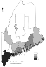 Thumbnail of Human babesiosis cases reported by county, Maine, 2001–2011.