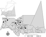 Thumbnail of Geographic distribution of confirmed and probable cases of Rift Valley fever among humans and animals, southern Mauritania (gray shading), 2012. Triangles, confirmed human cases; dots, probable human cases; squares, confirmed animal cases.