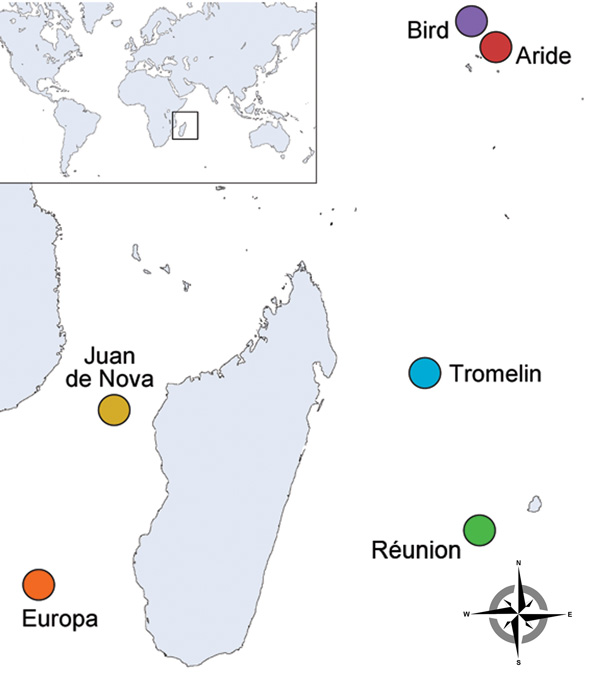 Location of western Indian Ocean islands where tick sampling was conducted among seabird colonies during 2011–2012.